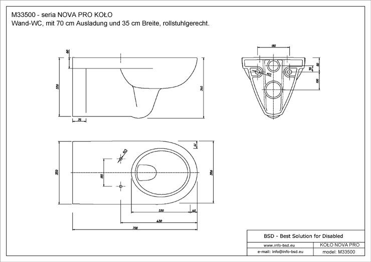 Bevorzugt Wand WC verlängert rollstuhlgerecht, behindertengerecht AE91